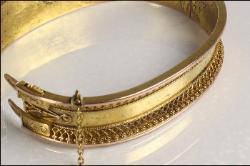 Antiuqe bracelet bangle filigree florets surrounds with projecting flanges