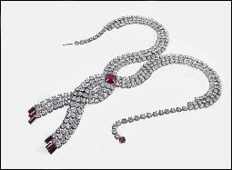 Amazing three strand crystal with ruby red sets rs necklace
