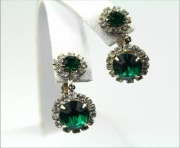 Emerald and crystals necklace with earring set