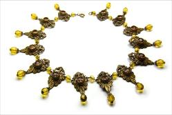 Art Deco golden topaz and crystal necklace