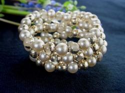 Glass Gold and Pearl Spring Memory Wire Bracelet