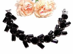 Gorgeous antique black jet glass stone bracelet