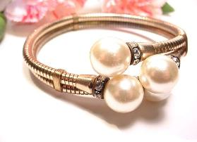 Snake wrap bracelet beautiful large pearls and rondells