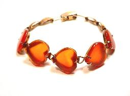 Most shimmering carnelian hearts linked bracelet