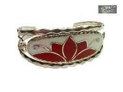 Signed Alapaca Mexico bangle bracelet with inlays.