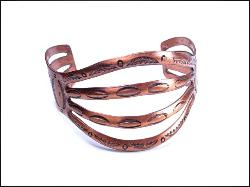 WIDE SOLID COPPER Designer Signed Cuff Bracelet