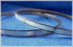 Two Mother Of Pearl Bangle Bracelets