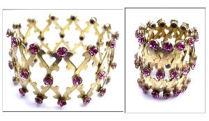 Purple RS golden expansion wide bracelet, fits any size wrist