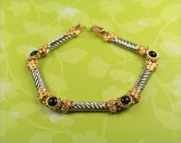 Gold black and silver column link bracelet