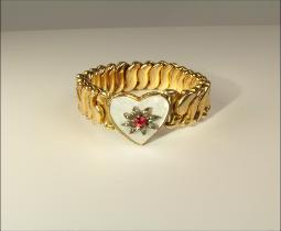 Signed B & N, Gold GF Sweetheart Stretch Bracelet