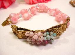 Golden at front layered with dainty colorful round beads pink band bracelet