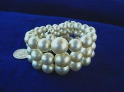 Creamy 3-Row Vintage Costume Jewelry