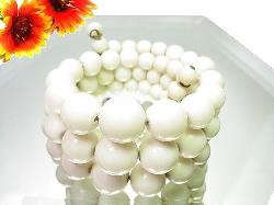 Three Row Vintage Spring White Bead Vintage Bracelet