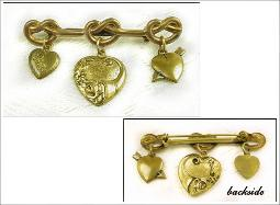 Vintage Love Knot Heart Brooch 3 Hearts Dangles from Brooch