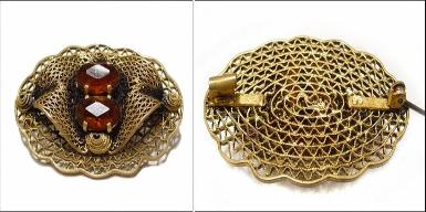 Signed 1895, Openwork Victorian Brooch | C Tube Catch