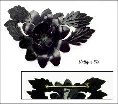 Vintage Celluloid Plastic Flower Antique Pin | Heat Set c-clasp