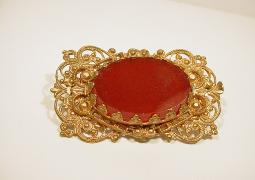 Carnelian Filigree Brooch Antique Jewellery