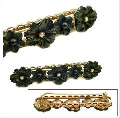 Victorian French Jet Florals with Seed Pearls Tube Hinge & c-clasp