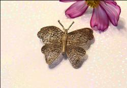 Antique Hand Cut Brooch | Butterfly c-clasp