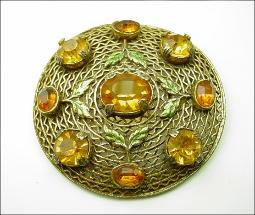 Victorian Brooch Gold Wash Enamel and Paste Stones