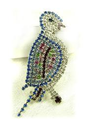 Large Paved Bird Brooch