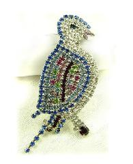 Large Paved Bird Brooch multi colors