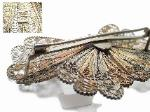 Two Toned Silver & Gold Filed Antique Filigree Brooch