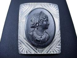 Exquisite Carved Black and Clear Vintage Plastic Brooch