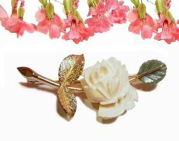 Carved Ivory Celluloid and Jade Leaf Vintage Pin