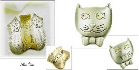 Two Figural Cat Brooches