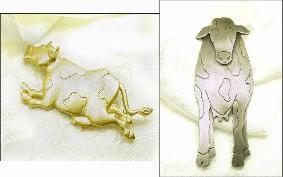 Two Figural Cow Broochs Vintage Figural Brooch Pins