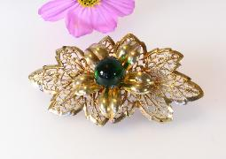 Antique Brass Brooch, Filigree Detailed Leaves, Green Glass Orb Atop