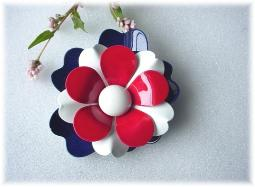 Red White Blue Metal Brooch