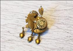 Cuckoo Clock Antique Brooch / Necklace Pendent