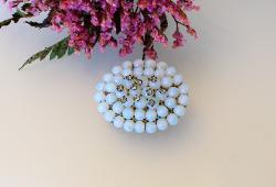 Antique Opalescent Glass Brooch | Topped with RS