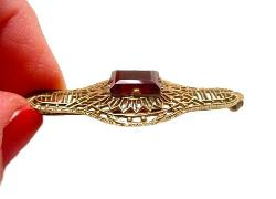 High Relief Red Set Stone | Open filigree Victorian Sash Pin