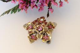 Golds and Pinks Vintage Brooch