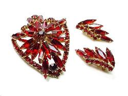 Slender Marquis and Chaton Red Brilliant Stones Juliana Parure