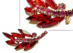 Red Marquis and Pink Chatons Juliana Pin Brooch