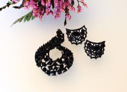 Black Navette and Chaton Brooch Set + Earrings