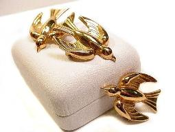 Coro Vintage Jewelry Three Brooches - Bird Scatter Pins