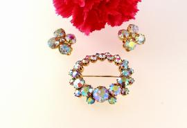KRAMER brooch and clip earrings