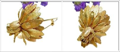 Engraved Long Stem Vintage Golden Flower Brooch