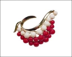 Red White Swirl Gold Brooch