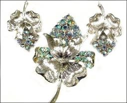 Coro Signed Brooch and Earring Set Brooch Demi Parure