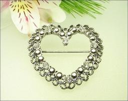 Heart Brooch Marcasites and Rhinestones