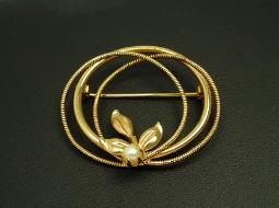 Signed C INC 1/20 12K GF Golden Pearl Brooch