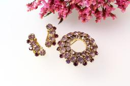 Circle wreath and matching earrings, lavender and purple stones prong set