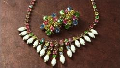 Superb vintage prong-set milk glass and pastel rhinestone fringe necklace and matching earrings