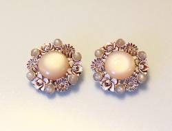 Lg Round Clip Earrings | Pink Moonglow and Carved Flowers